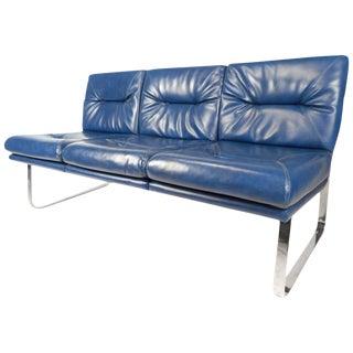 Milo Baughman Style Mid-Century Vinyl Sofa