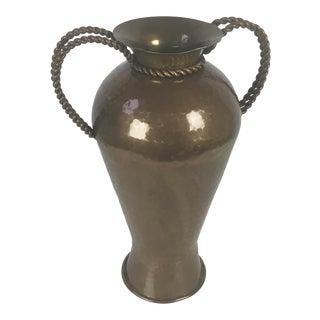 Rosenthal Netter Hammered Brass Vase With Turned Rope Handles