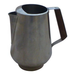Mid-Century Stainless & Walnut Water Pitcher