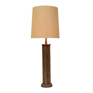 Tall Fluted Walnut Table Lamp