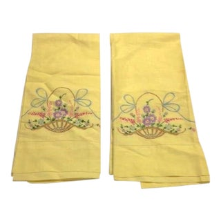 Never-Used Yellow Embroidered Pillowcases - A Pair