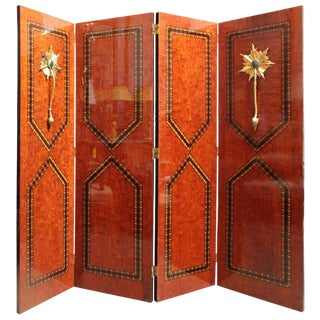 Continental Four-Panel, Parquetry and Bronze Folding Screen