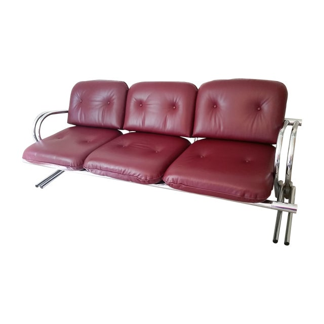 Vintage Chrome 3-Seat Sofa With Foot Stool - Image 1 of 9