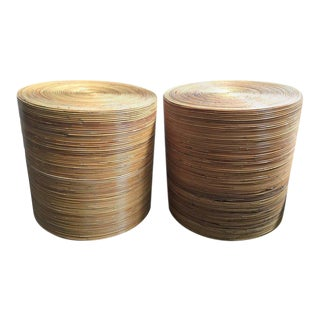 Cylindrical Pair of Pencil Reed Bamboo Rattan Drum Tables
