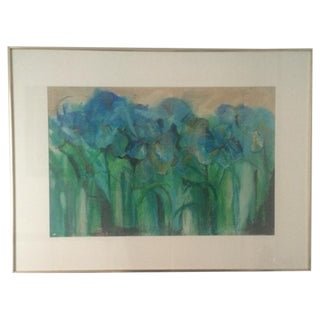 N. DiRocco MCM Mixed Media Painting Irises