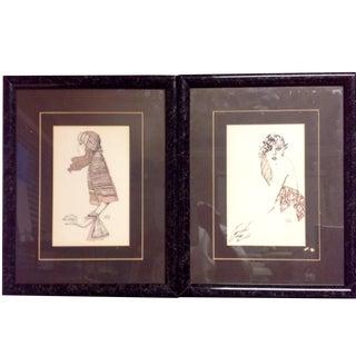A. Gruerio Vintage Framed Fashion Prints - A Pair
