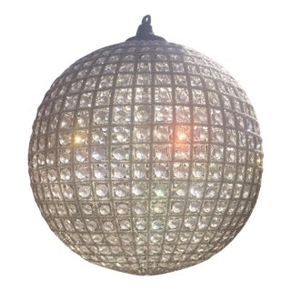 """Large French Beaded Globe Chandelier 23"""" Antique Reproduction"""