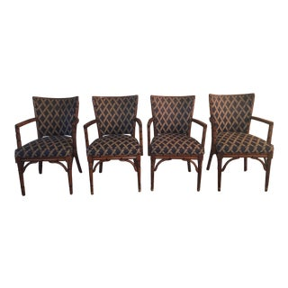 Upholstered Faux Bamboo Dining Chairs - Set of 4