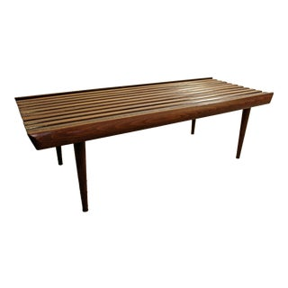 Mid-Century Danish Modern Walnut Slat Bench Coffee Table #2