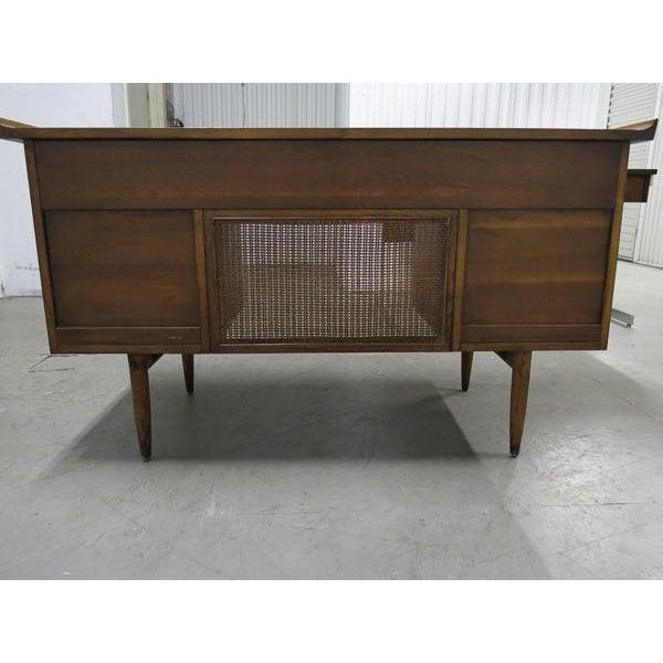 Image of Lane Mid-Century Wood & Cane Executive Desk