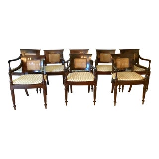 Mahogany Fortuny Seat Dining Chairs - Set of 8