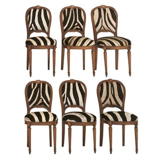 Louis XVI Maison Jansen Zebra Chairs - Set of 6