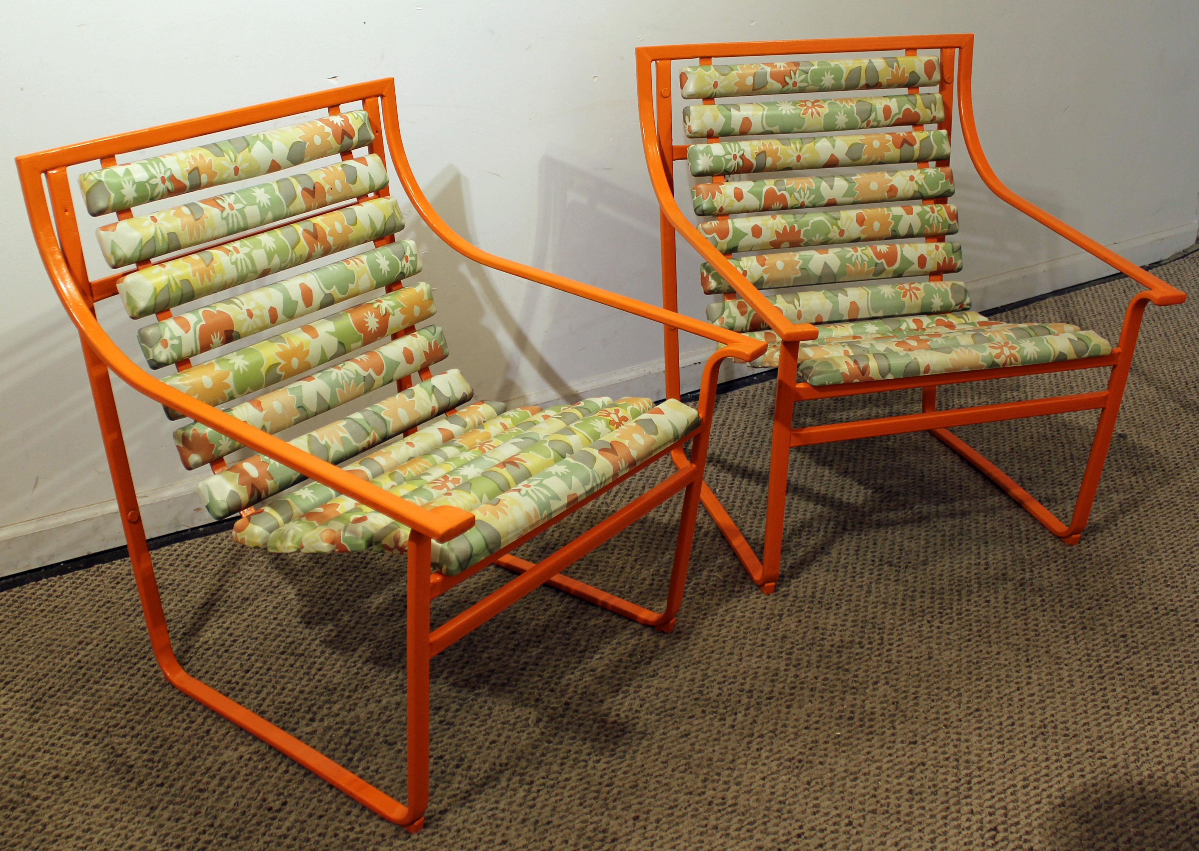 Pair Of Mid Century Modern Atomic Orange Samsonite Outdoor Scoop Seat Arm  Chairs   Image