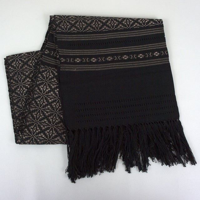 Image of Oaxaca Handwoven Black Copper Tassel Table Runner
