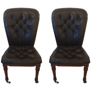 Black Tufted Leather & Mahogany Side Chairs - A Pair