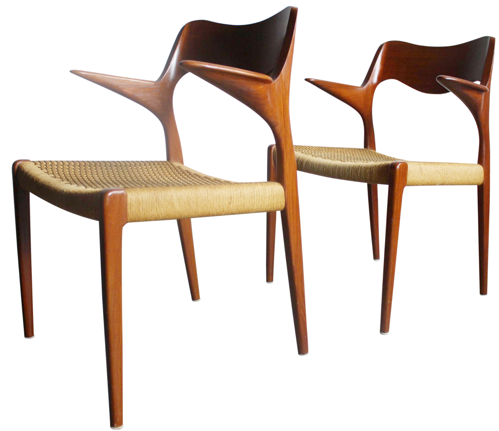 niels moller teak u0026 cord dining chairs a pair - Used Dining Room Chairs