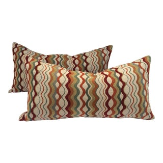 Mid-Century Patterned Pillows - a Pair