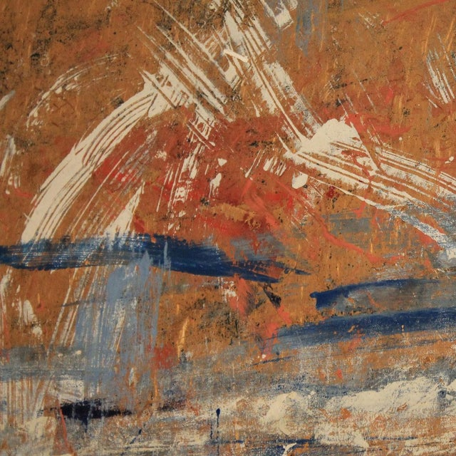 Red, White & Blue Abstract Oil Painting - Image 3 of 5