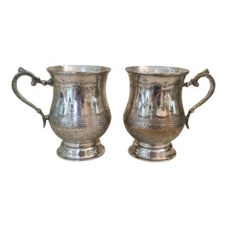 Vintage Silver Plated Etched Mugs/Tankards - Pair