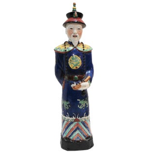 Chinese Hand Painted Cobalt Blue Porcelain Figure of an Official