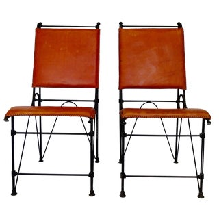 Ilana Goor Leather & Iron Chairs - A Pair