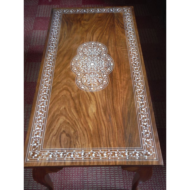 Pakistani Inlayed Rosewood Coffee Table - Image 3 of 9