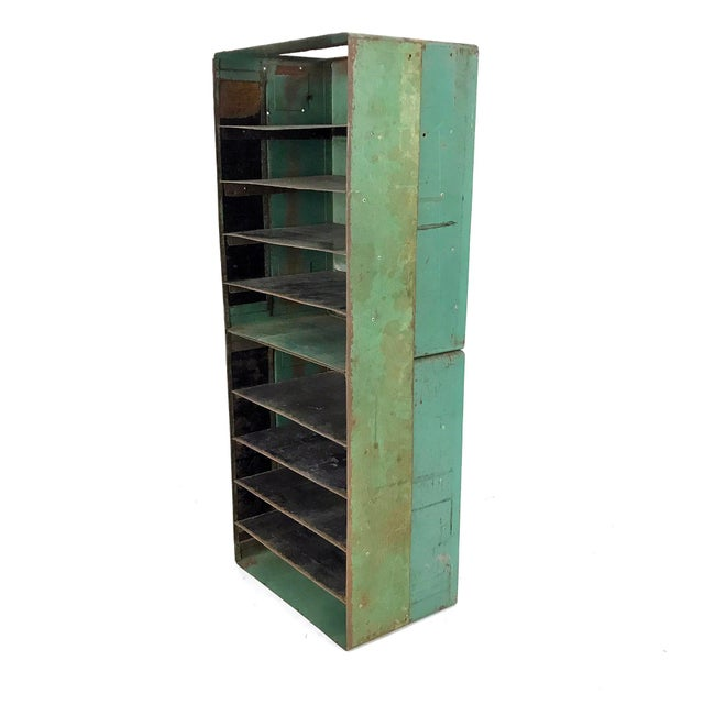 Vintage Industrial Slotted Shelf Organizer - Image 2 of 6