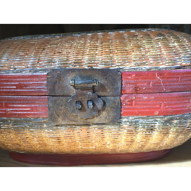 Vintage Chinese Bamboo Sewing Basket - Image 3 of 11
