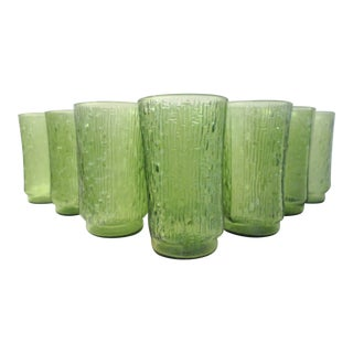 Green Irridescent Bamboo Design Tumblers - Set of 8