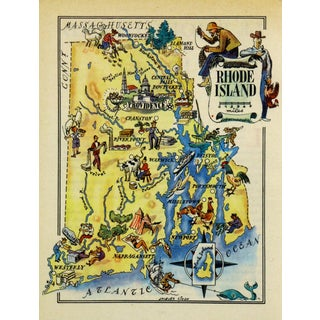 Vintage 1946 Rhode Island Pictorial Map