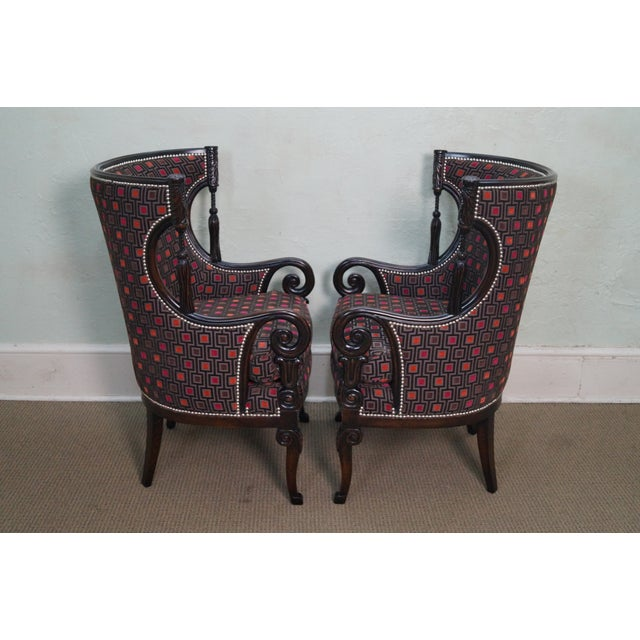 Carved Fire Side Barrel Back Wing Chairs - Pair - Image 3 of 10