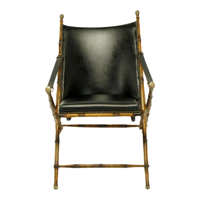 Italian Campaign Chair In Black Leather - Image 1 of 10