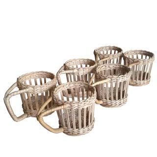 Vintage Wicker Drink Glass Holders - Set of 6
