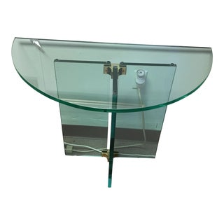 Mid-Century Glass Demi-Lune Table
