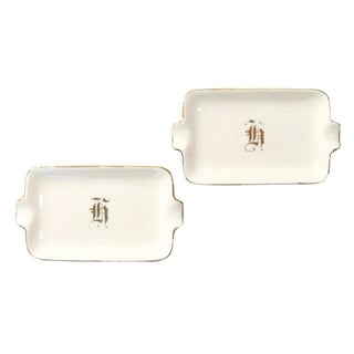 Hollywood Regency 'H' Monogrammed Ashtrays, A Pair