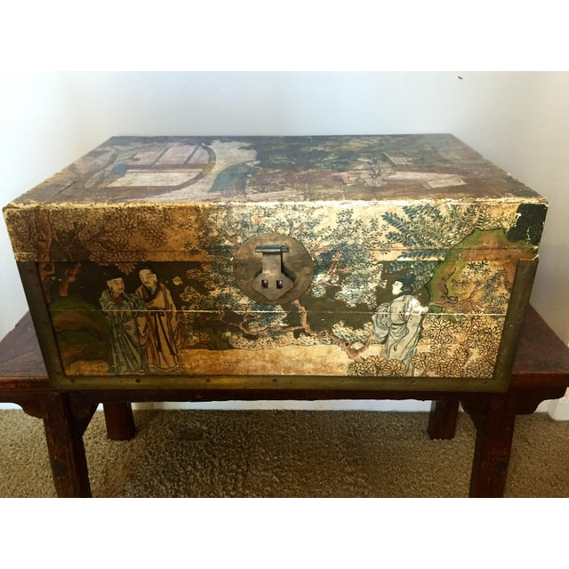 19th-C. Chinese Pigskin Travel Trunk - Image 2 of 11