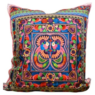 Birds of a Feather Ethnic Embroidered Pillow