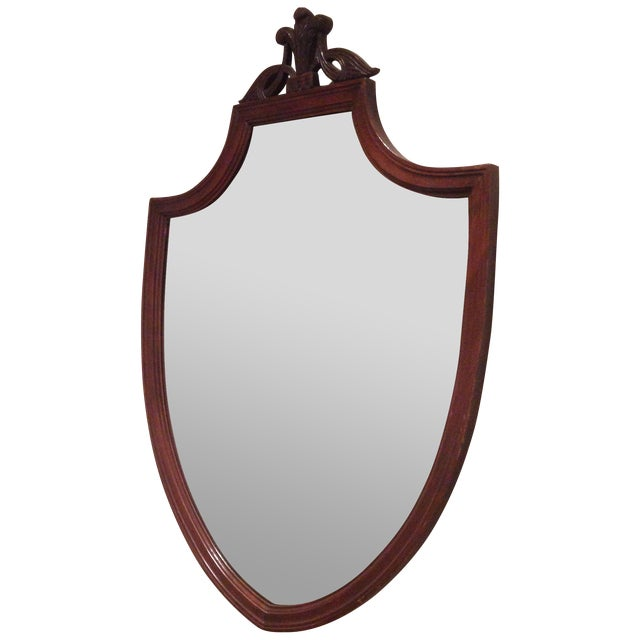 Image of Antique Mahogany Shield Mirror