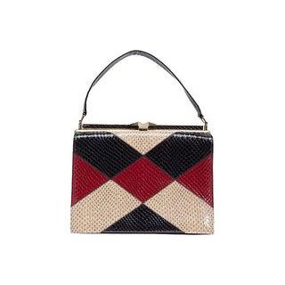 Faux-Snakeskin Tri-Color Bag