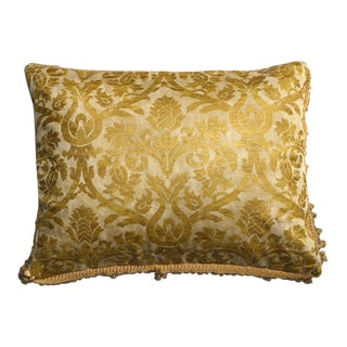 Fortuny Red & Gold Reversible Silk Damask Pillow