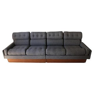 Danish Modern Teak & Gray Tweed Couch