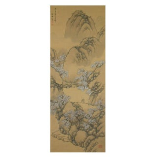 Antique Japanese Landscape Scroll Painting