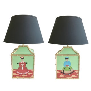 Dana Gibson Custom Painted Pagoda Lamps - a Pair