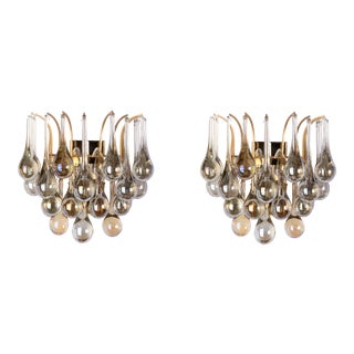 Exceptional Mid-Century Crystal Pair Of Sconces By Christoph Palme
