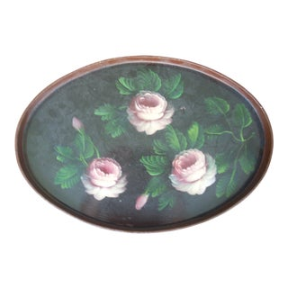 Vintage Oval Wooden Tole Tray