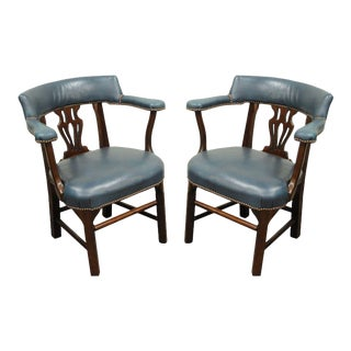 Pair of Vintage Chippendale Ephraim Marsh Blue Leather Mahogany Office Arm Chairs