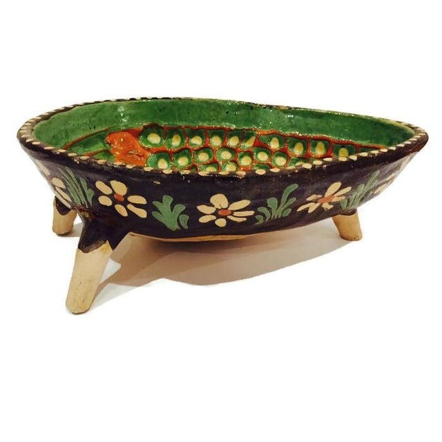 Image of Vintage Hand Painted Pottery Bowl