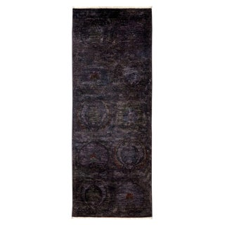 "Vibrance, Hand Knotted Modern Black Wool Runner Rug - 2' 7"" X 7' 3"""