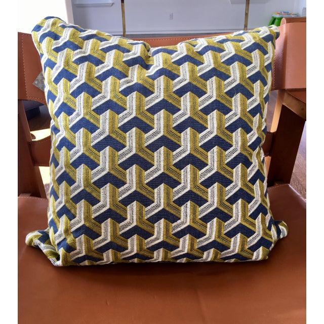 Kravet Embroidered Denim Pillows - A Pair - Image 5 of 5