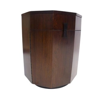Rare Decagon Rosewood Dry Bar Storage Cabinet or Chest by Harvey Probber